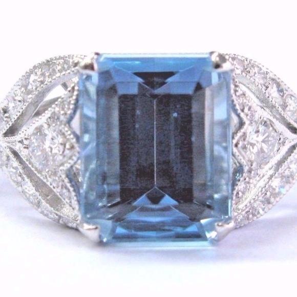 1f4fdbfb8 Tiffany & Co. Jewelry | Tiffany Co Platinum Aquamarine Diamond ...
